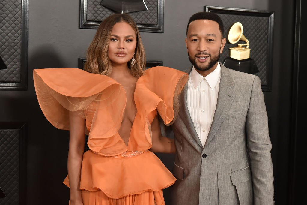 Chrissy Teigen and John Legend at the 62nd Annual Grammy Awards at Staples Center on January 26, 2020 in Los Angeles, CA. | Source: Getty Images