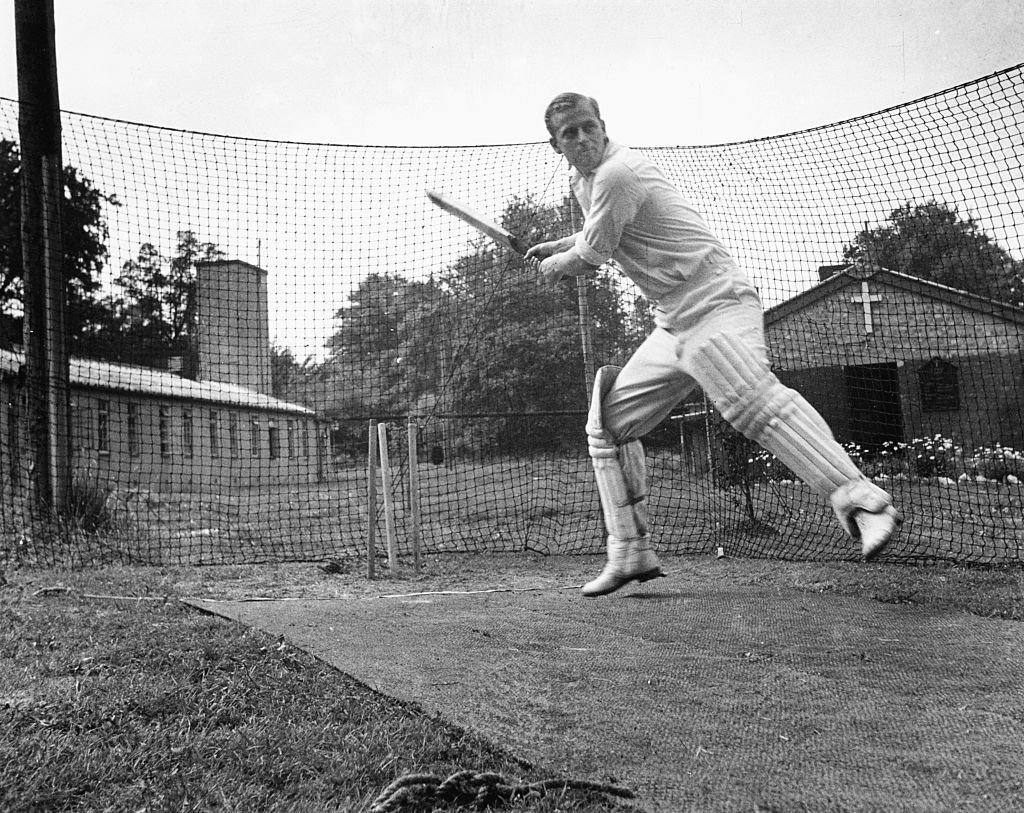 Philip Mountbatten, prior to his marriage to Princess Elizabeth, batting at the nets during cricket practice while in the Royal Navy | G
