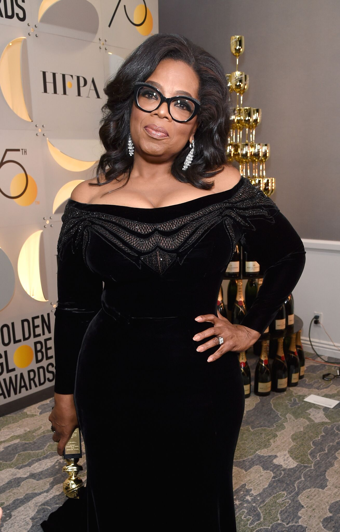 : Oprah Winfrey celebrates The 75th Annual Golden Globe Awards with Moet & Chandon | Getty Images