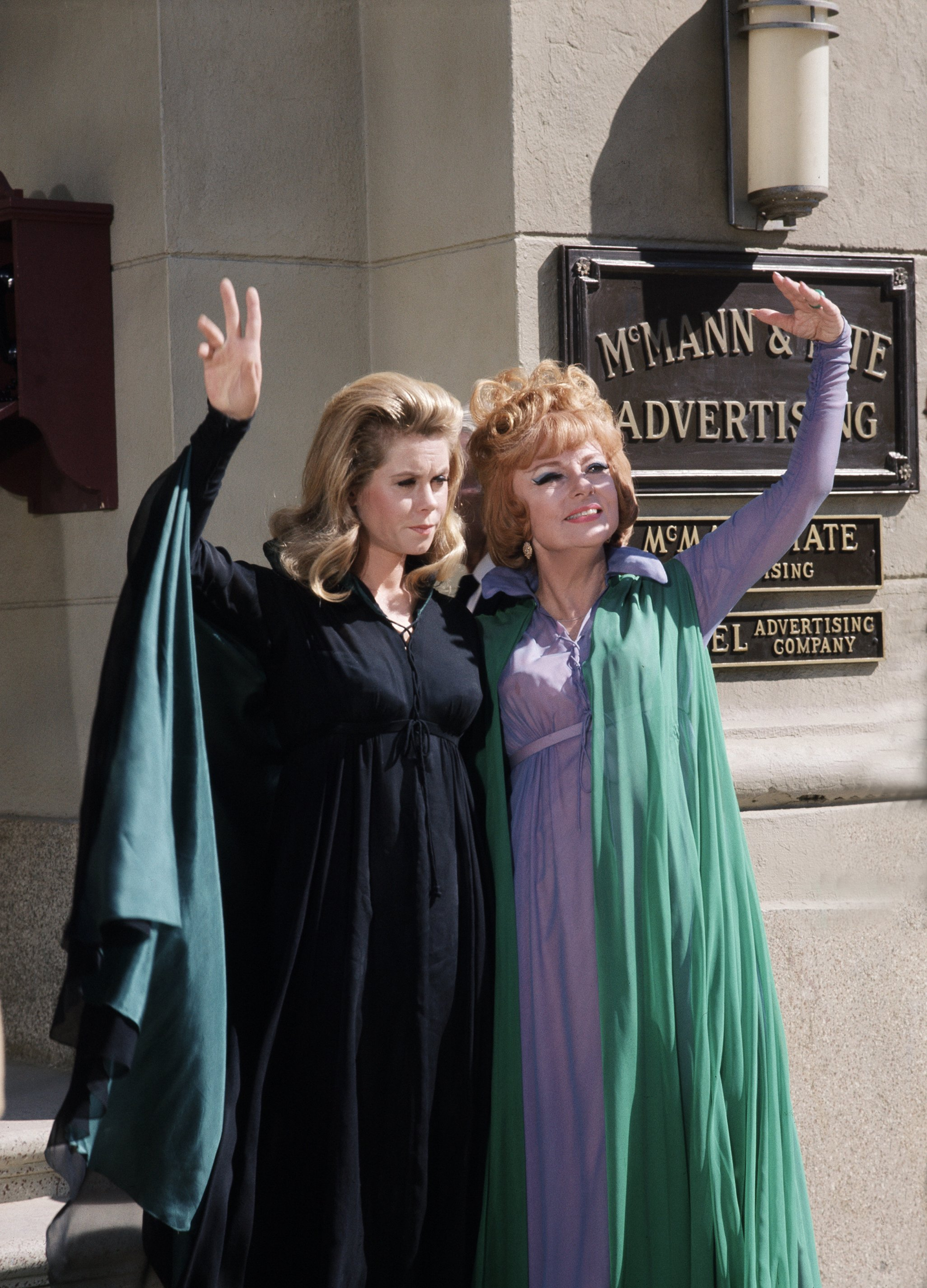 """Elizabeth Montgomery and Agnes Moorehead in an episode of """"Bewitched"""" in season three on October 13, 1966 