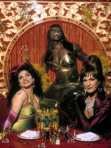 """John Leguizamo, Wesley Snipes, and Patrick Swayze in a restaurant in a scene from the film """"To Wong Foo Thanks for Everything, Julie Newmar,"""" in 1995. 