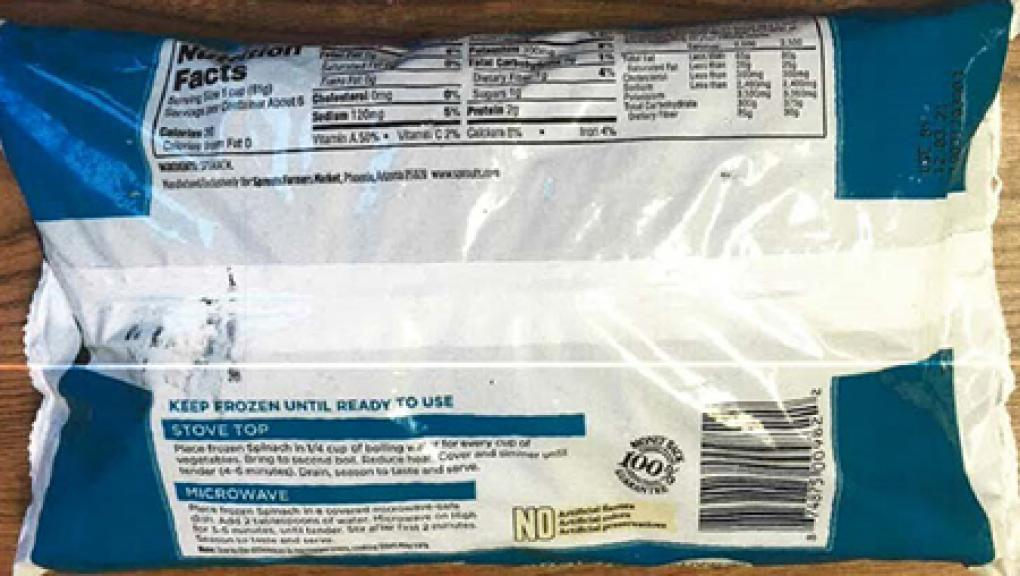 The back of the 16oz packets of Spouts Cut Leaf Spinach. Photo: FDA.