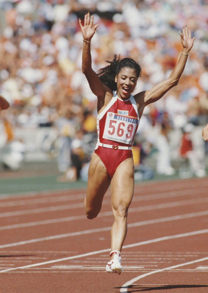Florence Griffith-Joyner during her winning moment in the Women's 100 meters final event during the XXIV Summer Olympic Games at the Seoul Olympic Stadium in Seoul, South Korea on September 25, 1988.   Photo: Getty Images