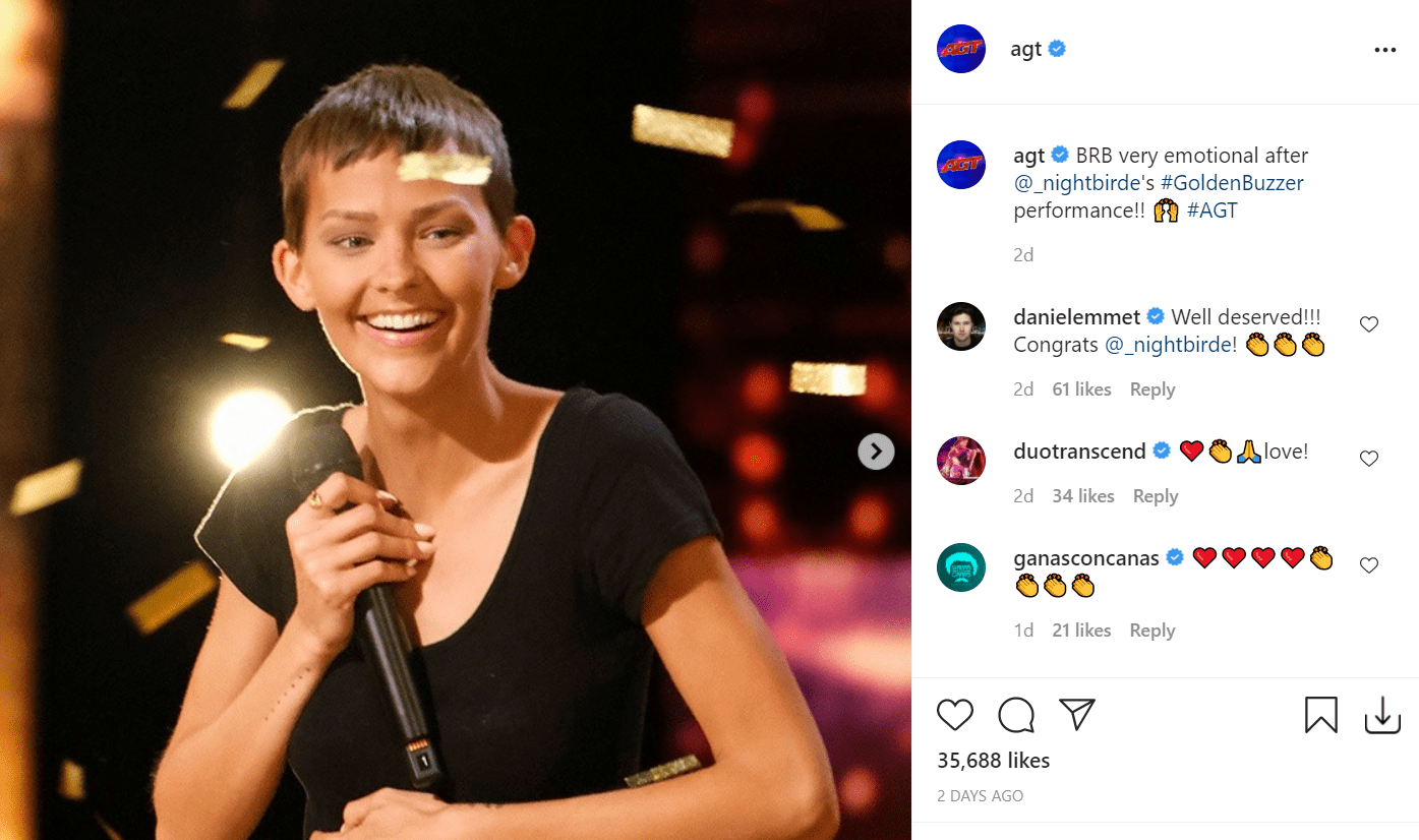 A screenshot of America's Got Talent's post on their Instagram page | Photo: instagram.com/agt