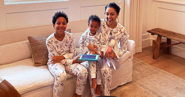 Tia Mowry Poses with Kids in Matching Bunny-Printed Pajamas in Easter Photo