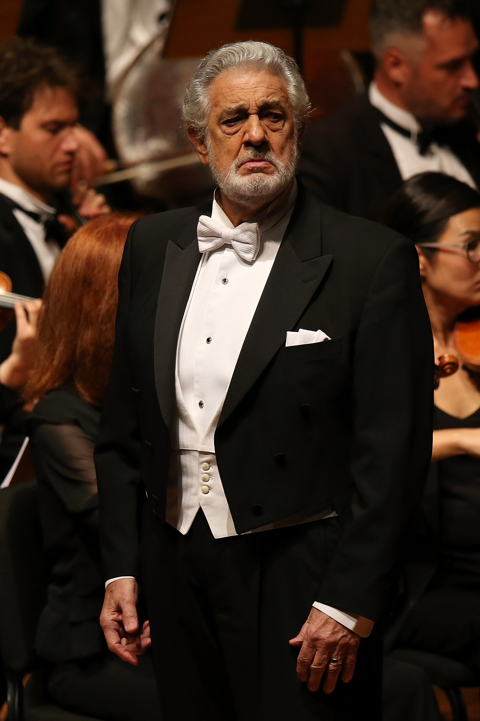 Placido Domingo sur scène pendant le concert Nabucco | Source : Getty Images