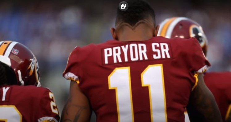 Back view photo of Terrelle Pryor showing his jersey number   Photo: Youtube /  Patriots Global