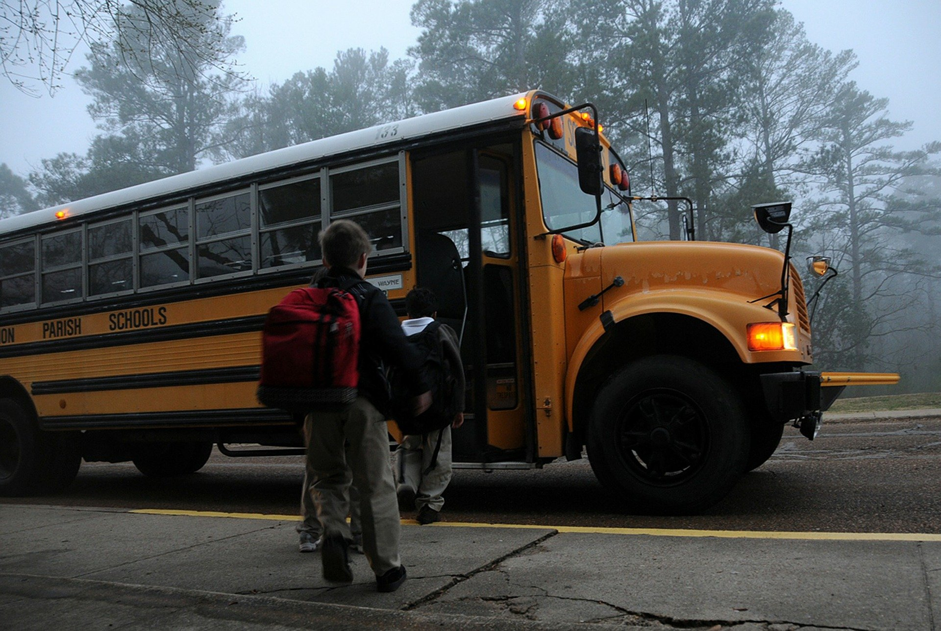Kinder steigen in Schulbus | Quelle: Pixabay