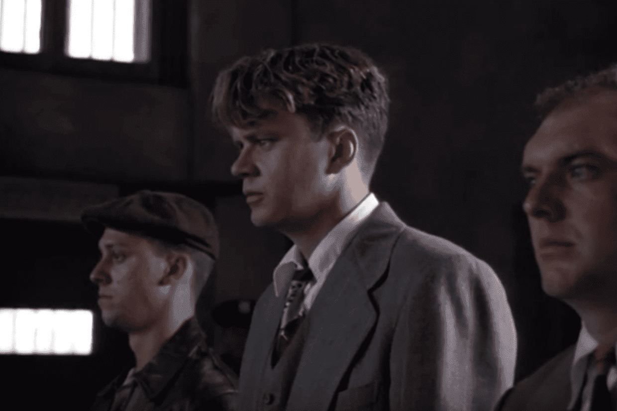 "Tim Robbins in the movie ""The Shawshank Redemption."" 