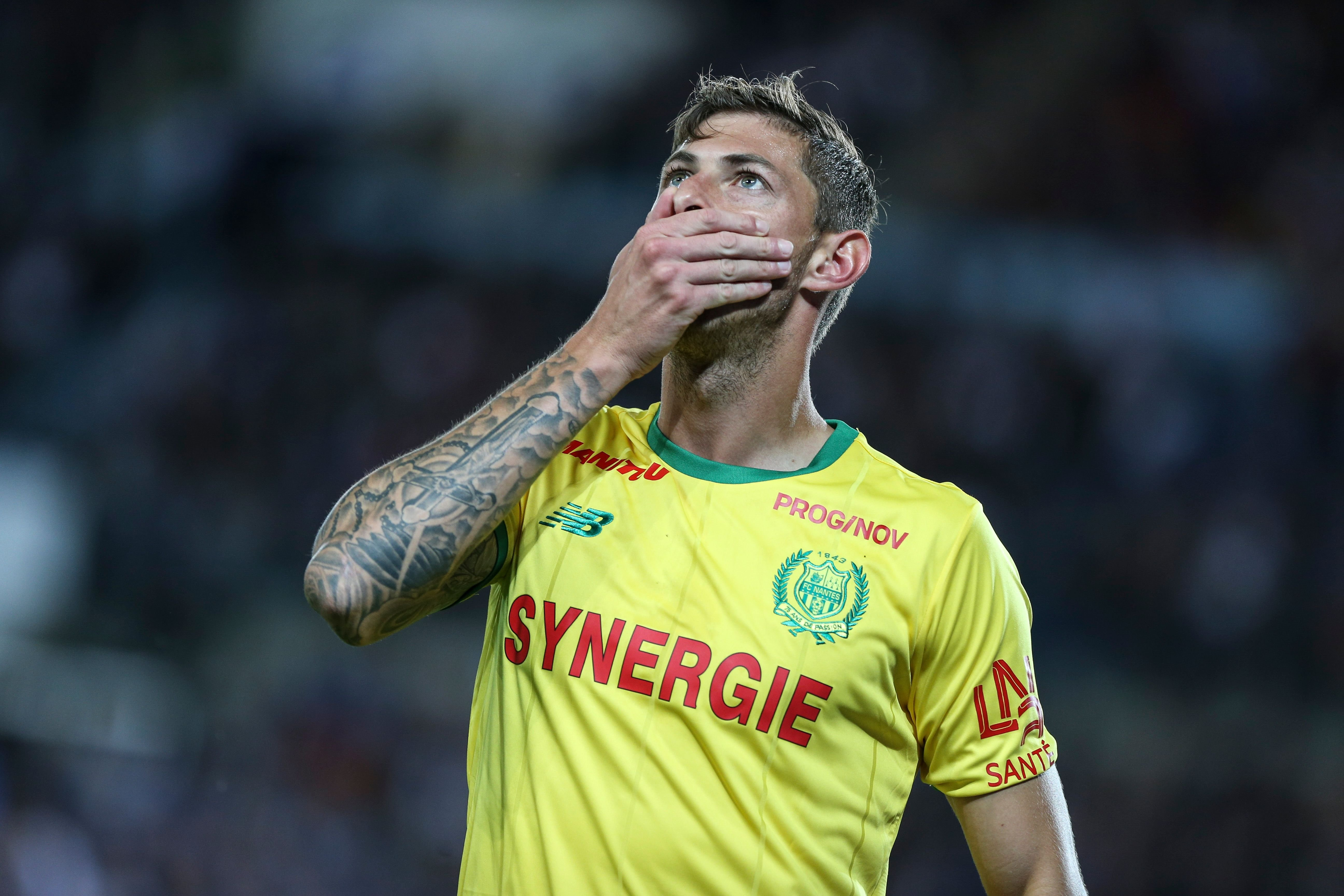 Nantes' players, Sala Emiliano, celebrate a goal during the French L1 football match between Strasbourg (RCSA) and Nantes (FCN) on September 1, 2018, at the Meinau Stadium in Strasbourg, eastern France. | Foto von: Elyxandro Cegarra/NurPhoto via Getty Images