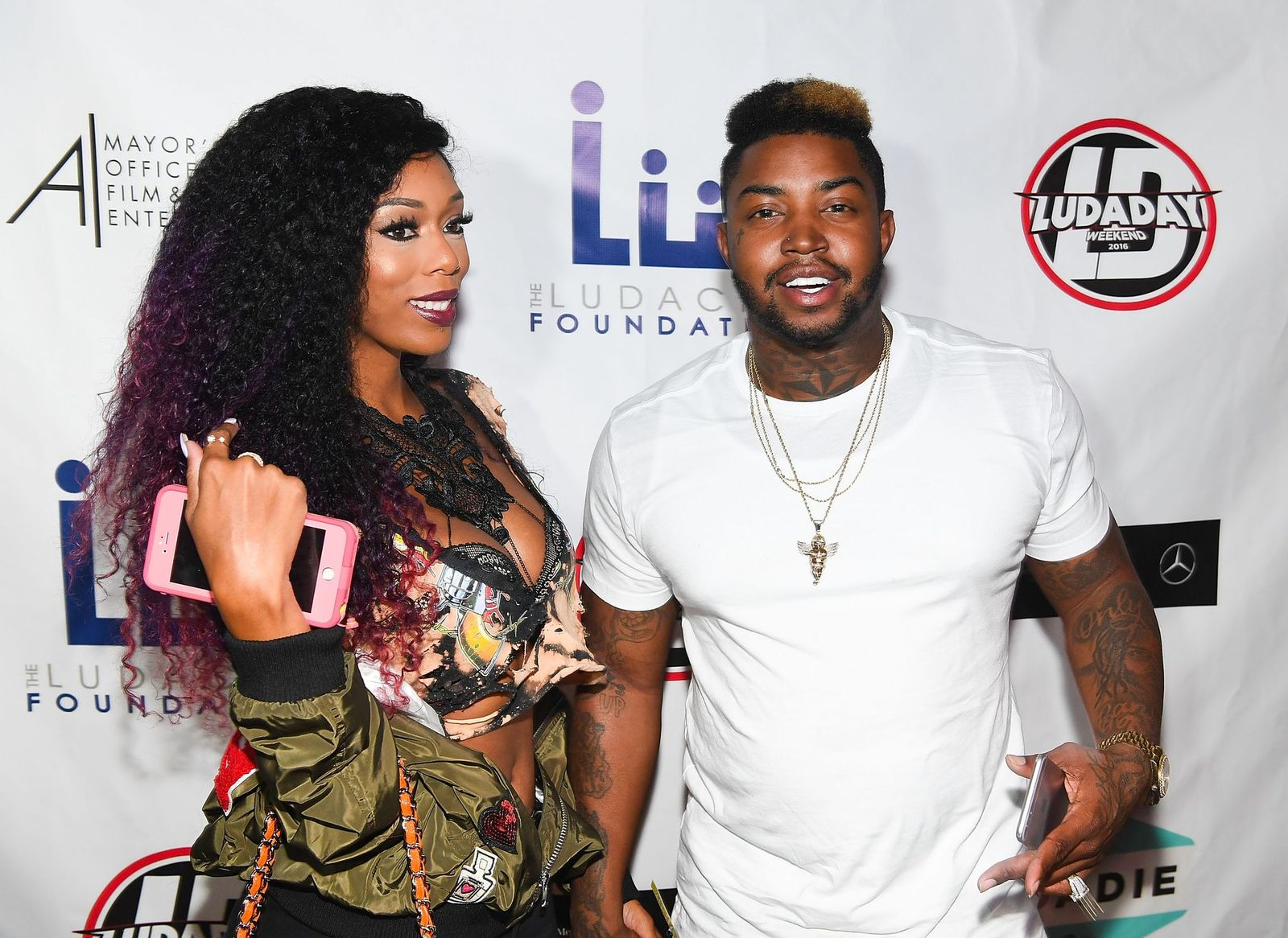 Adiz 'Bambi' Benson and Lil Scrappy at LudaDay Weekend: Celebrity Bowling Tournament at Bowlmor Lanes on September 2, 2016   Photo: Getty Images