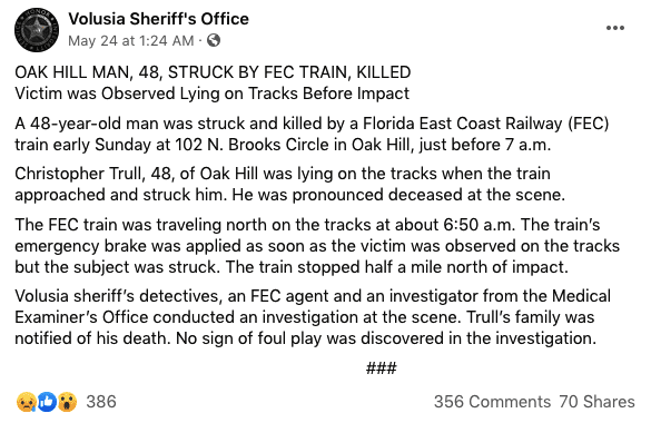 A screenshot of a report from Volusia Sheriff's Office   Photo: facebook.com/Volusia Sheriff's Office