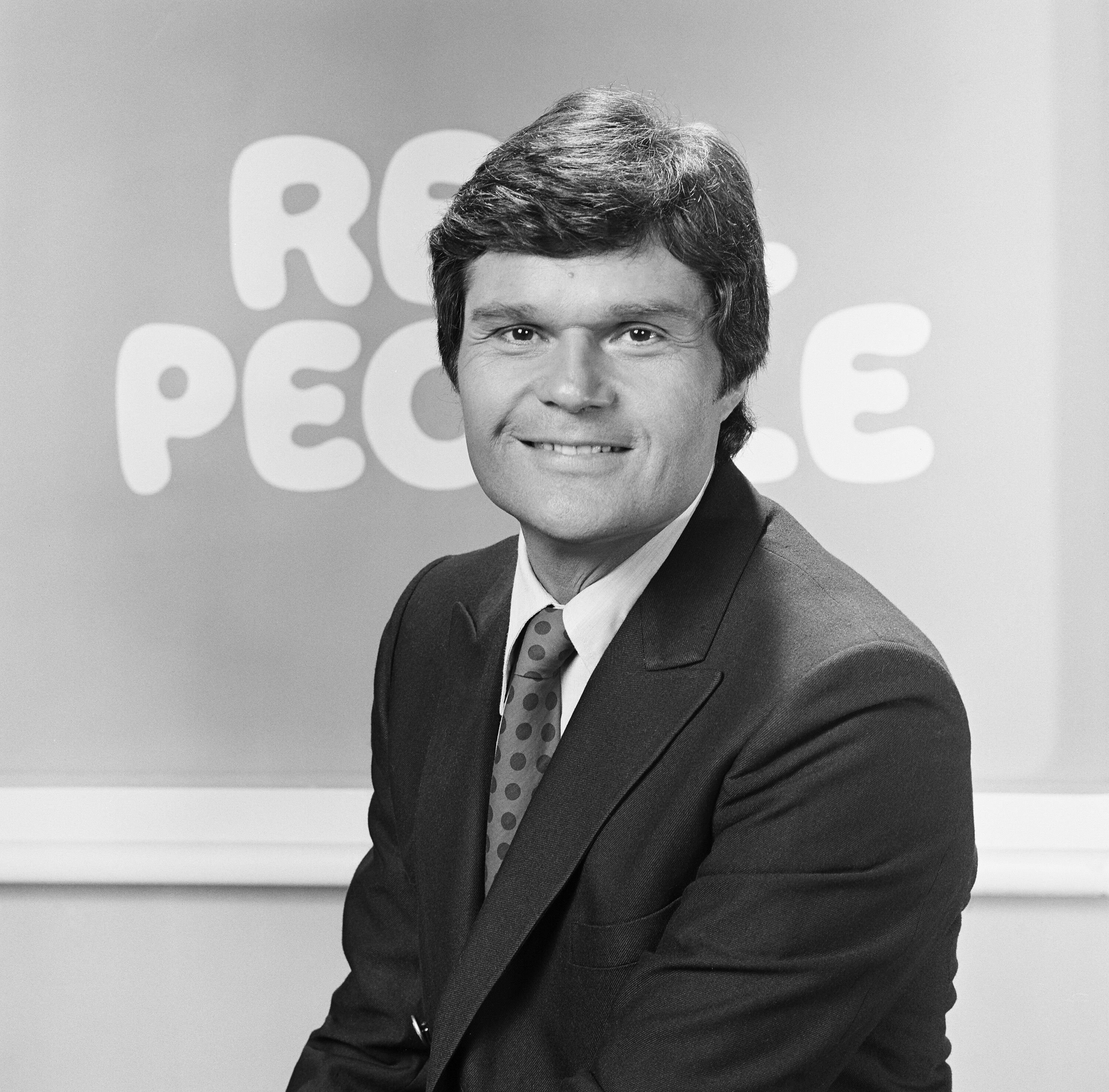 """A younger Fred Willard on the set of reality television serious """"Real People"""" during its third season in 1980-81 
