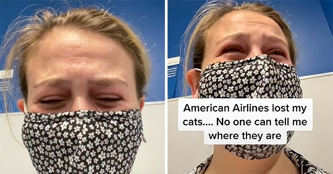 Ariel Dale crying at the JFK Airport after she was told that no one knew where her cats were   Photo: Tiktok.com/arieldale