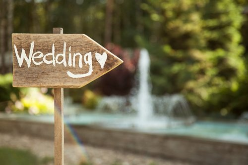 A signboard showing directions to a wedding. | Source: Shutterstock.