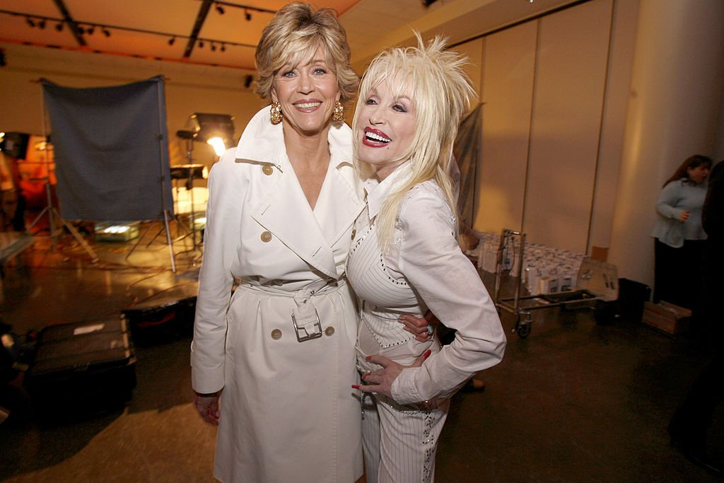 """Jane Fonda and Dolly Parton during """"9 to 5"""" 25th Anniversary Special Edition DVD Launch Party - March 30, 2006 at The Annex (Hollywood and Highland) in Hollywood, California, United States   Photo: Getty Images"""