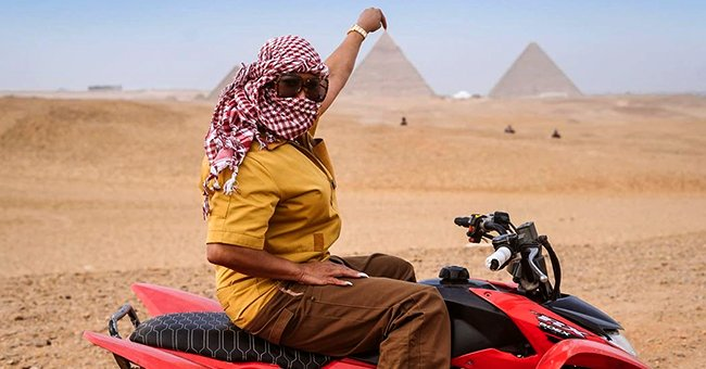 Steve Harvey's Wife Marjorie Poses on Quad Bike with Pyramids in the Background during Egypt Trip