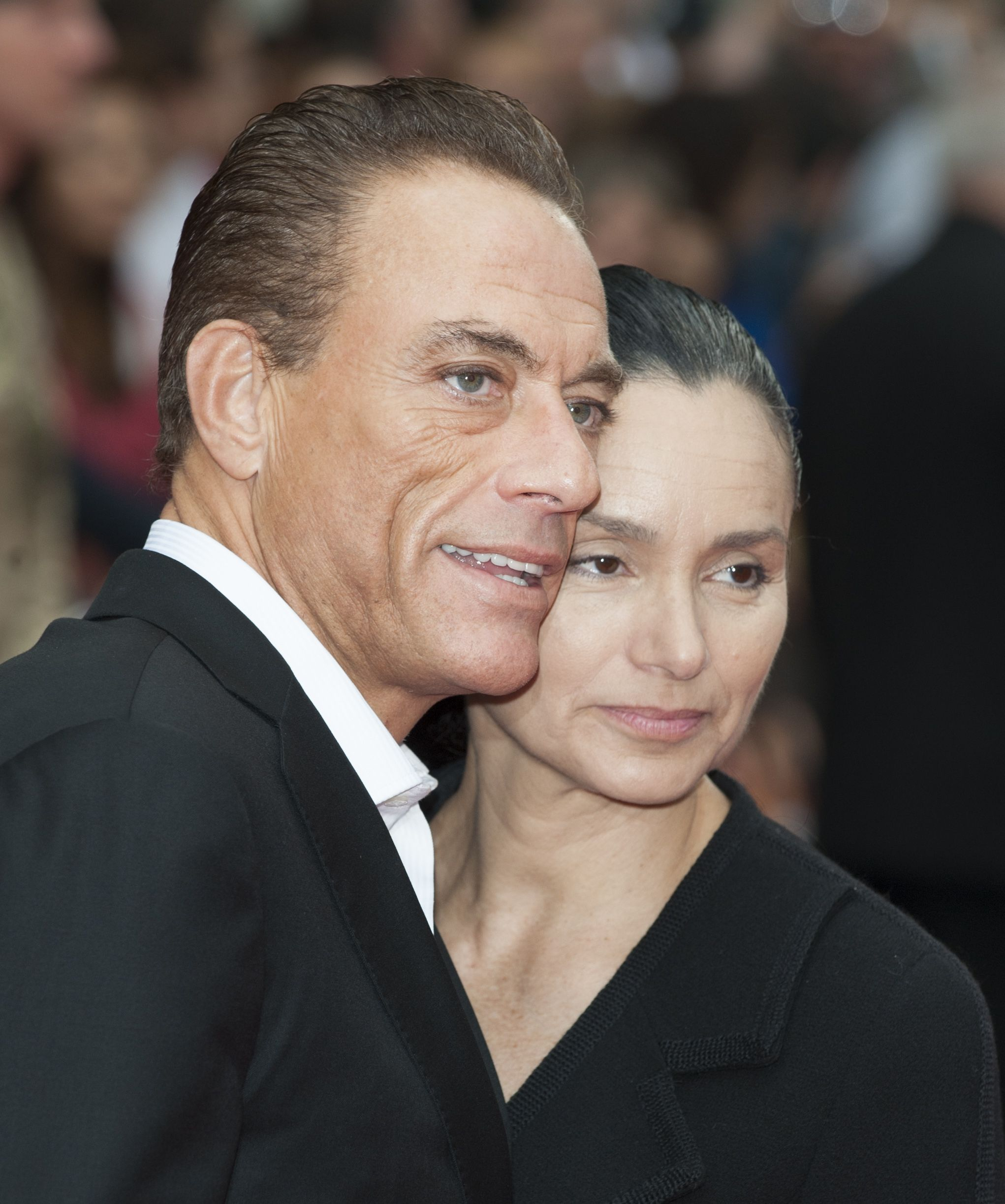 """Jean-Claude Van Damme and Gladys Portugues at the Uk Premiere of """"The Expendables 2""""  on August 10, 2012, at Leicester Square, London   Photo: Mark Cuthbert/UK Press/Getty Images"""