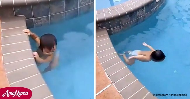 Cute 1-year-old can swim around the pool