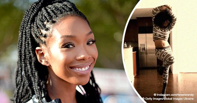 Brandy praised after showing off her fuller curves while dancing in striped costume in video