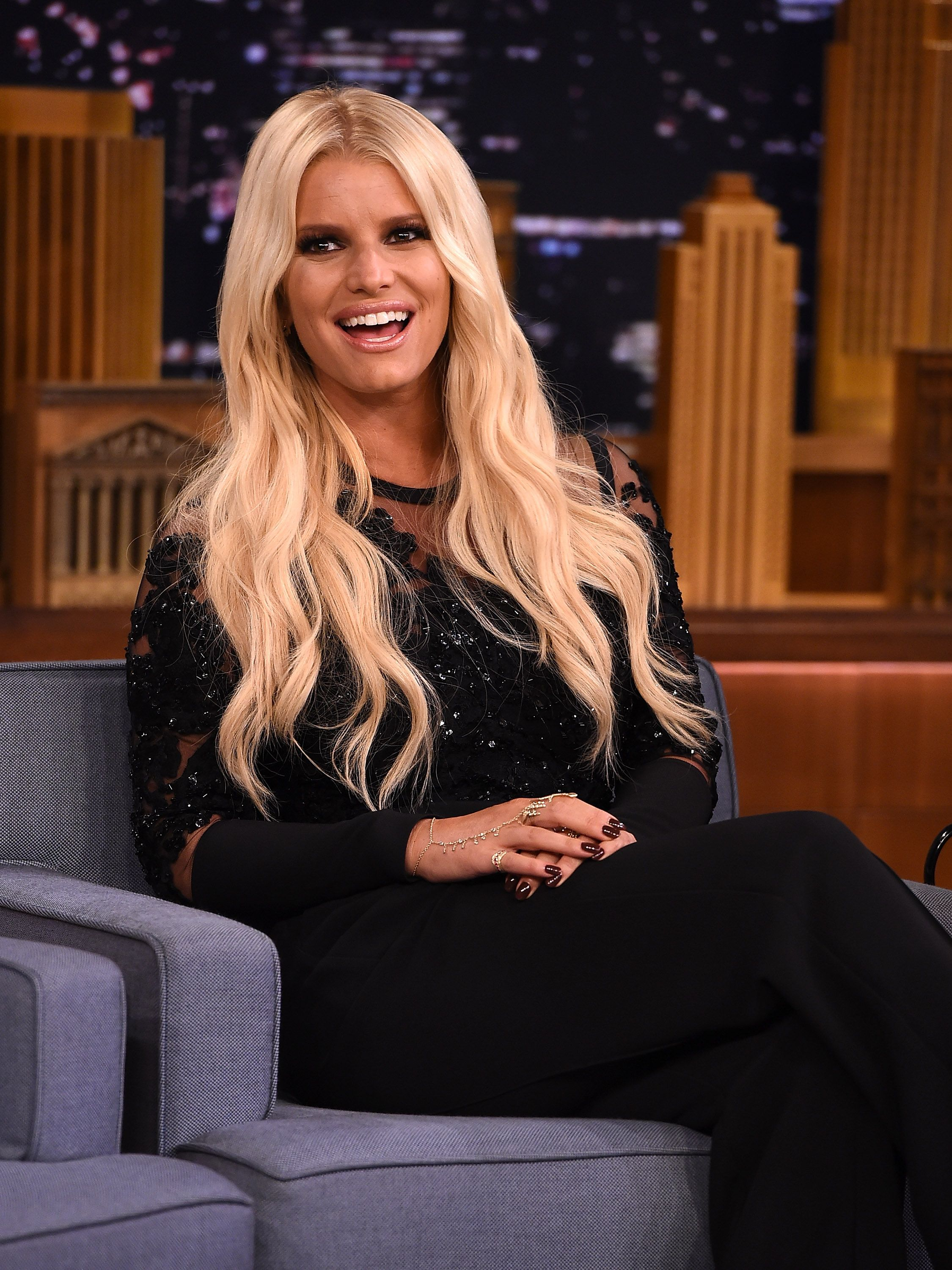 """Jessica Simpson during """"The Tonight Show Starring Jimmy Fallon"""" at Rockefeller Center on September 8, 2015, in New York City. 