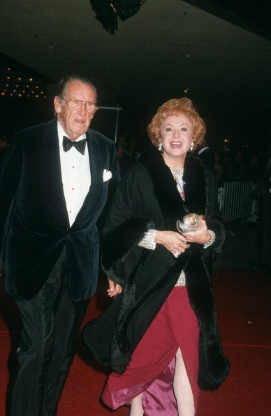 Audrey Meadows and Robert Six on December 11, 1985 at the Plitt Theater in Century City, California.   Photo: Getty Images