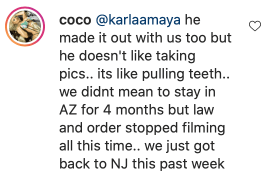 Coco's reply to a fan's comment on her post. | Source: Instagram/coco