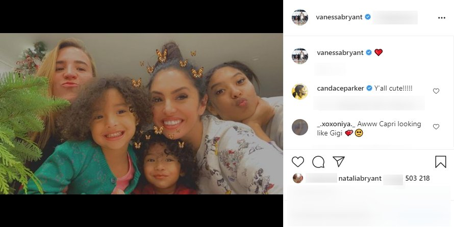 Vanessa Bryant, wife to late Kobe Bryant, posing for pictures with her daughters and a family friend. | Photo: Instagram/vanessabryant
