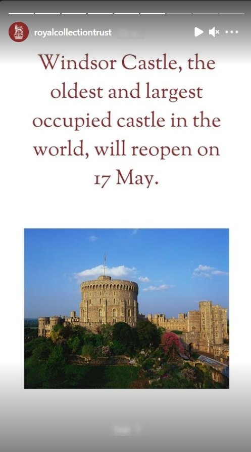 A screenshot of the announcement of Windsor Castle's reopening | Photo: Instagram.com/royalcollectiontrust