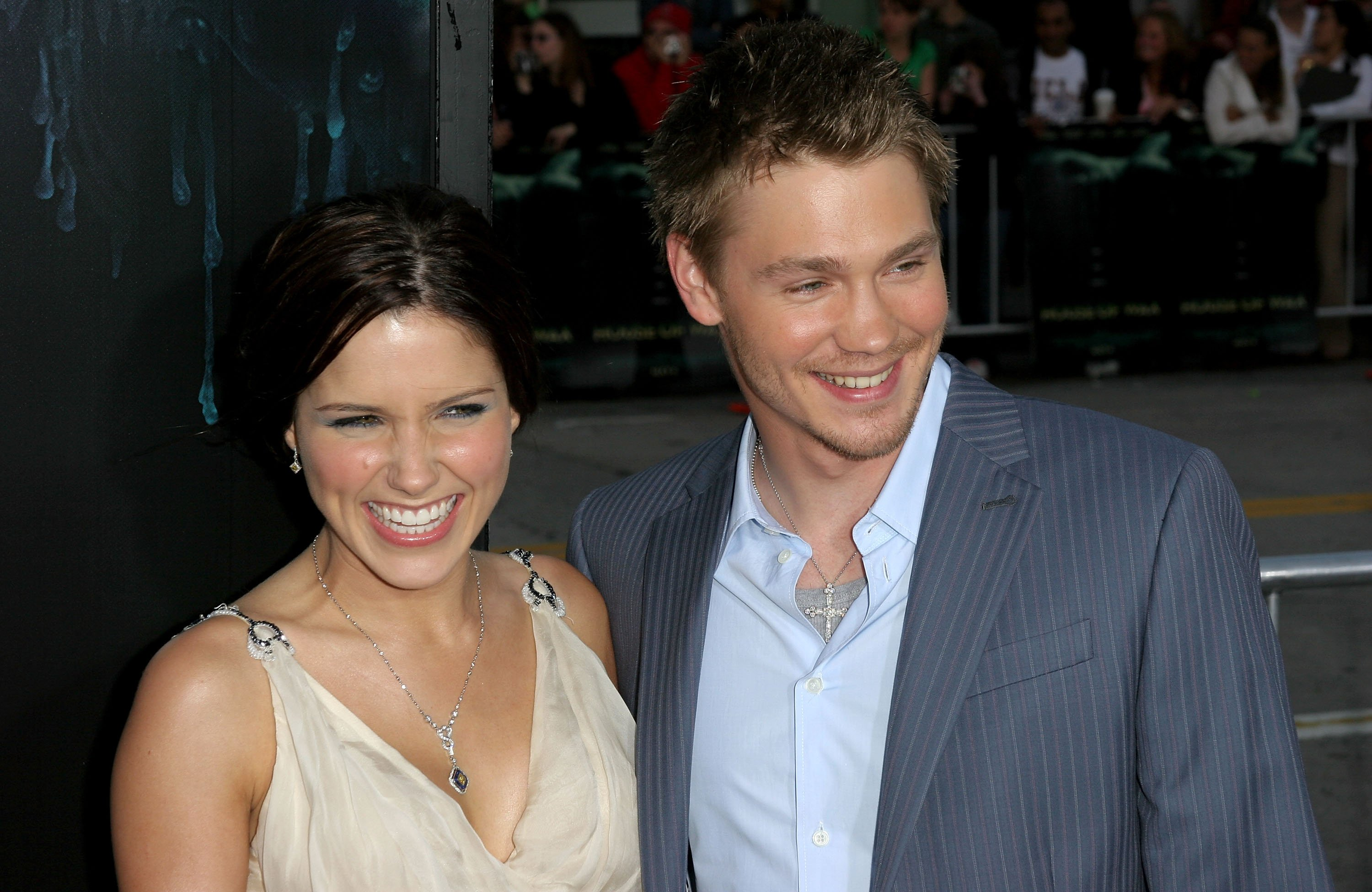 """Chad Michael Murray (R) and his wife actress Sophia Bush arrive at Warner Bros. Premiere Of """"House Of Wax"""" at the Mann's Village Theater on April 26, 2005, in Westwood, California.   Source: Getty Images."""