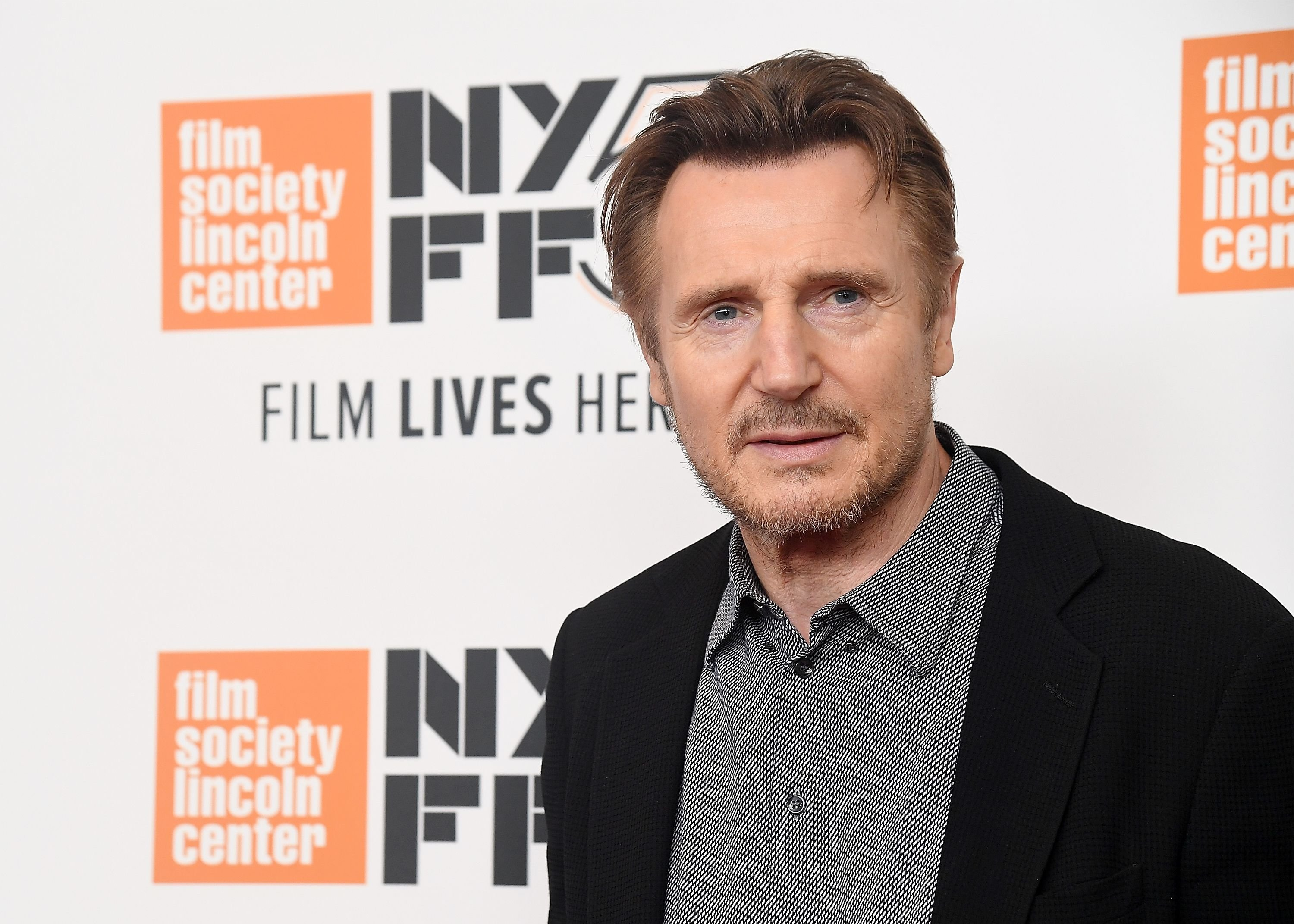 """Liam Neeson at the screening of """"The Ballad of Buster Scruggs"""" during the 56th New York Film Festival on October 4, 2018 