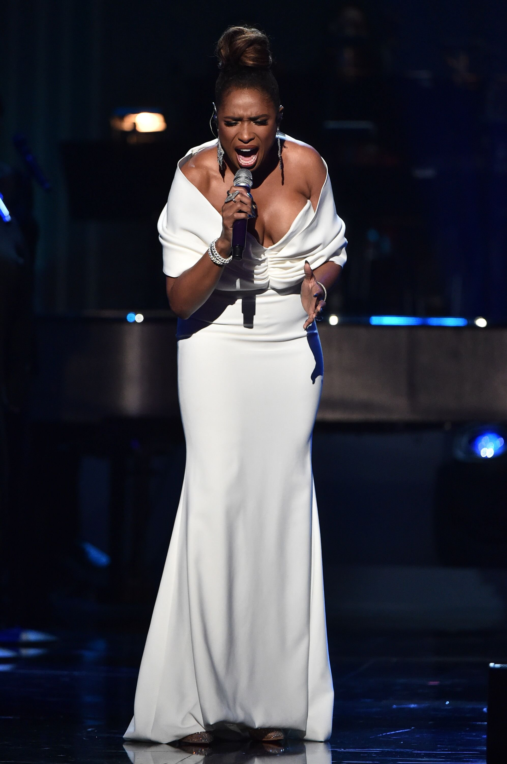 """Jennifer Hudson performs onstage at All-Star Lineup Pays Tribute At """"Aretha! A GRAMMY"""" Celebration For The Queen Of Soul at The Shrine Auditorium on January 13, 2019 in Los Angeles, California. 