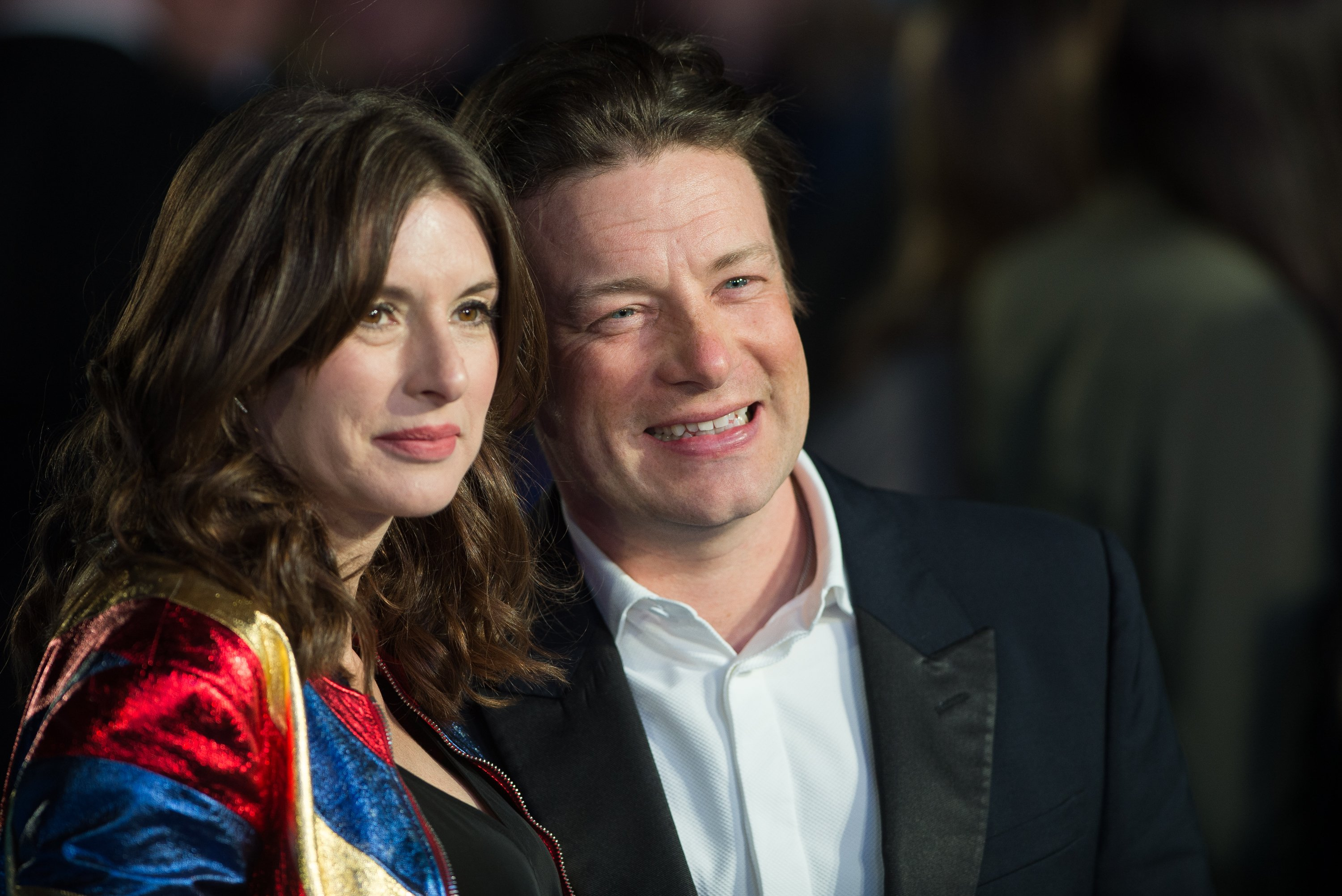 """Jools Oliver and Jamie Oliver pictured at the European premiere of """"Eddie the Eagle,"""" 2016, London, England. 