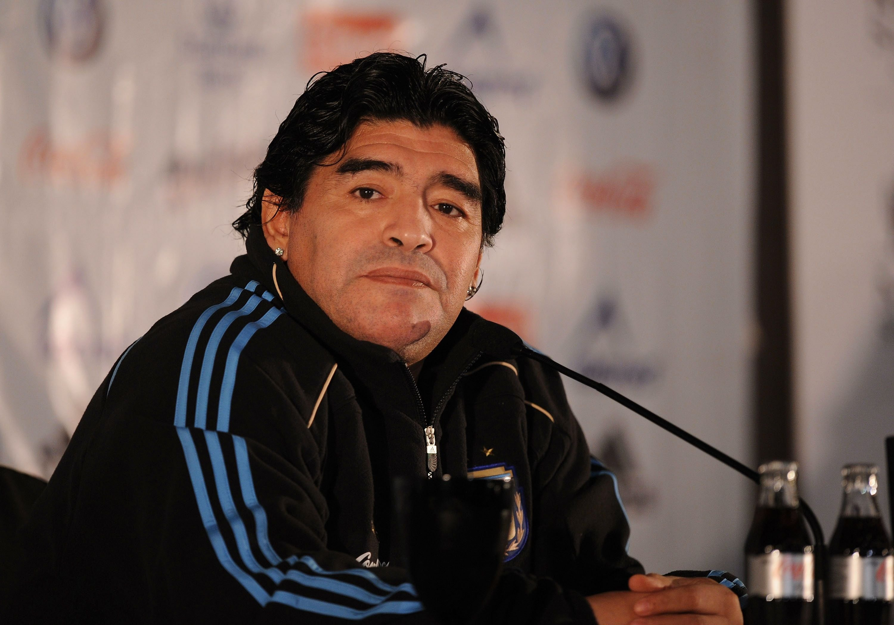 Argentina's manager Diego Maradona at a press conference at a hotel on November 12, 2009   Photo: Getty Images