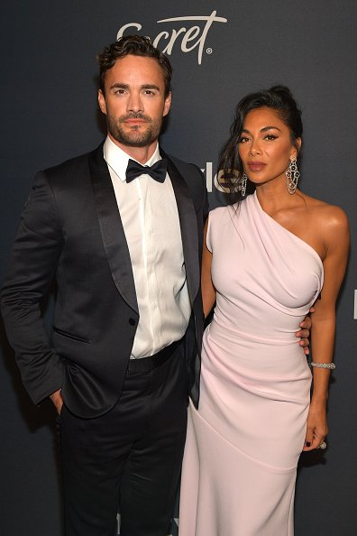 Thom Evans and Nicole Scherzinger at The Beverly Hilton Hotel on January 05, 2020 in Beverly Hills, California.   Photo: Getty Images