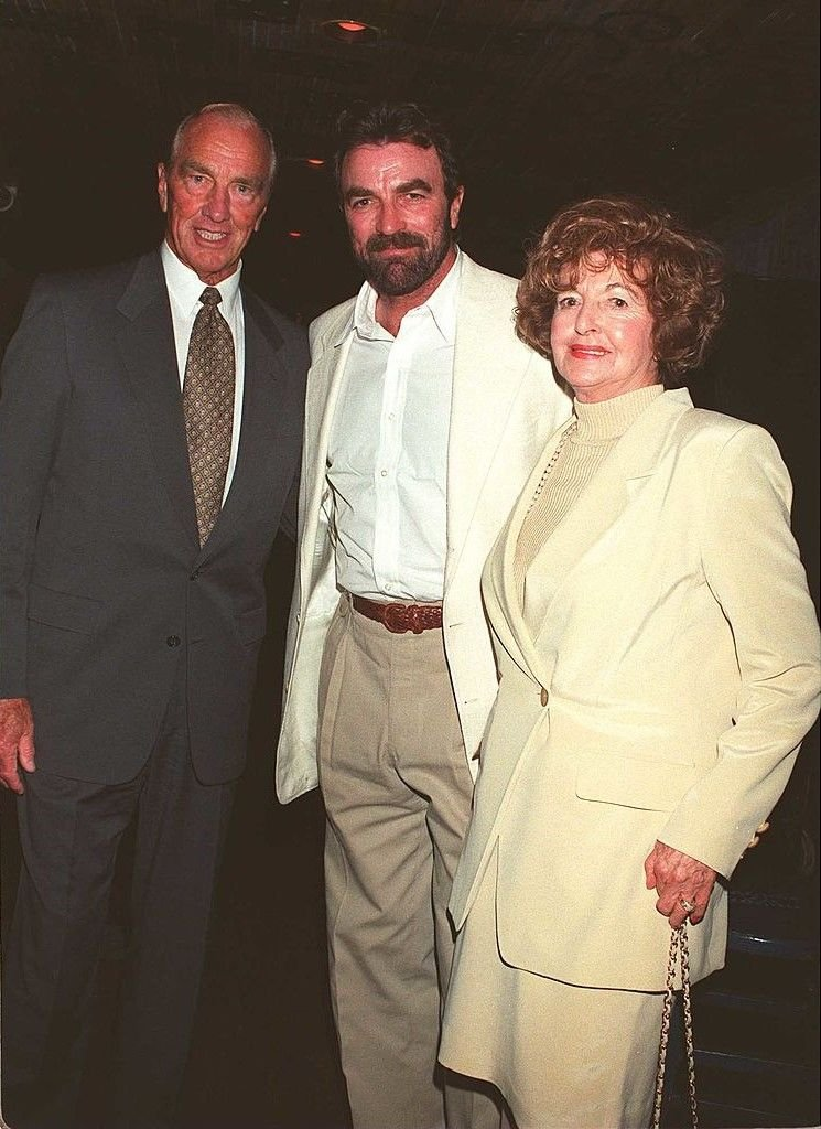 Tom Selleck with his parents, Martha and Robert Dean Selleck at a benefit function in 1996   Source: Getty Images
