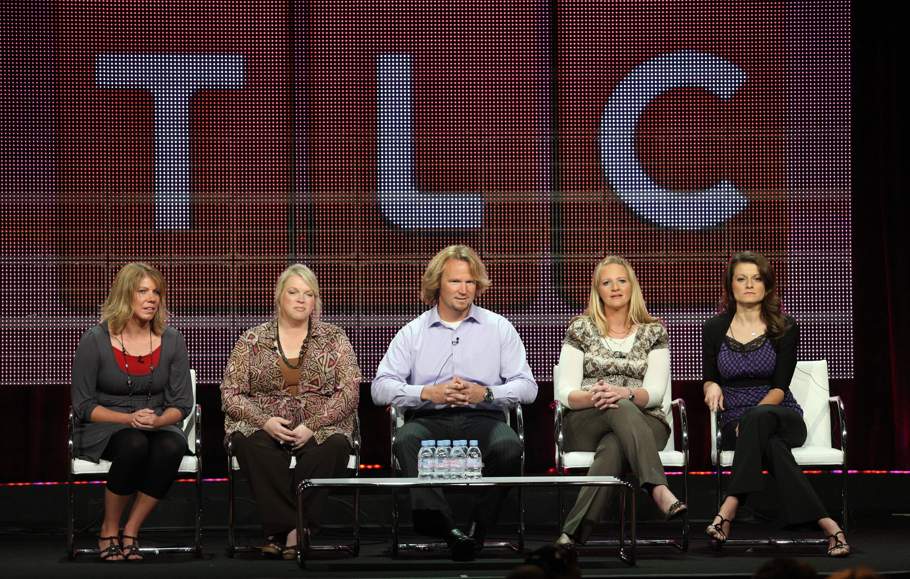 "Meri, Janelle, Kody, Christine, and Robyn Brown during the ""Sister Wives"" panel on the Summer TCA press tour on August 6, 2010, in Beverly Hills, California 
