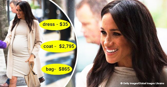 Meghan Markle flaunts huge baby bump in $35 H&M maternity dress while visiting an animal charity