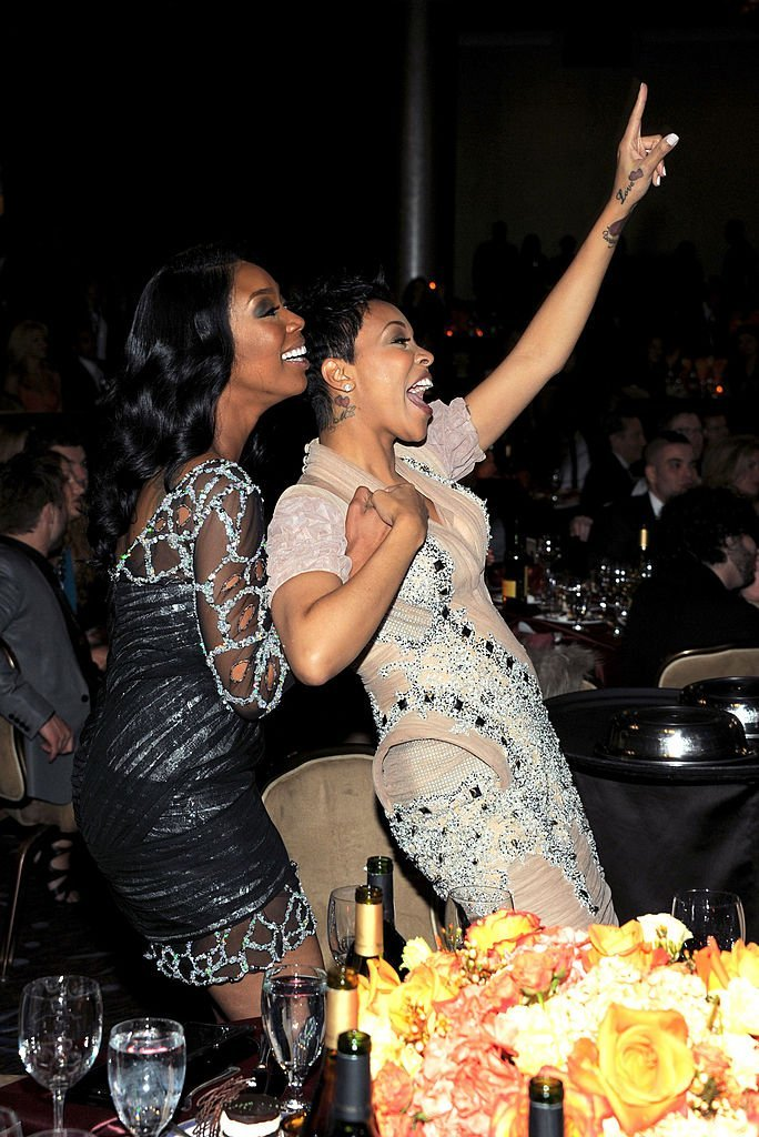Brandy and Monica post-feud at the 2011 Pre-Grammy Gala in Beverly Hills in February 2011. | Photo: Getty Images
