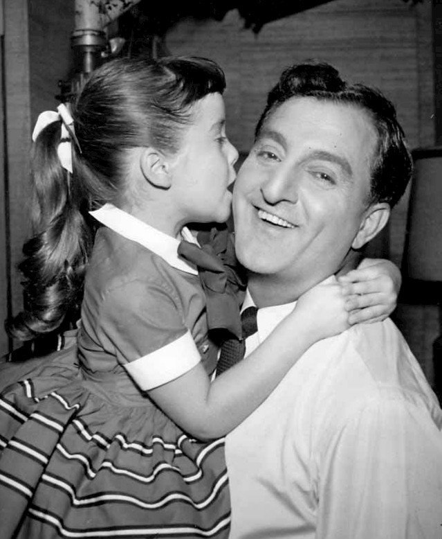 "Danny Thomas and Angela Cartwright in a scene from ""Make Room for Daddy."" 