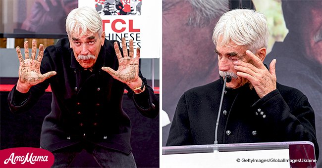 Sam Elliott wiped away a tear during his emotional speech at imprint ceremony