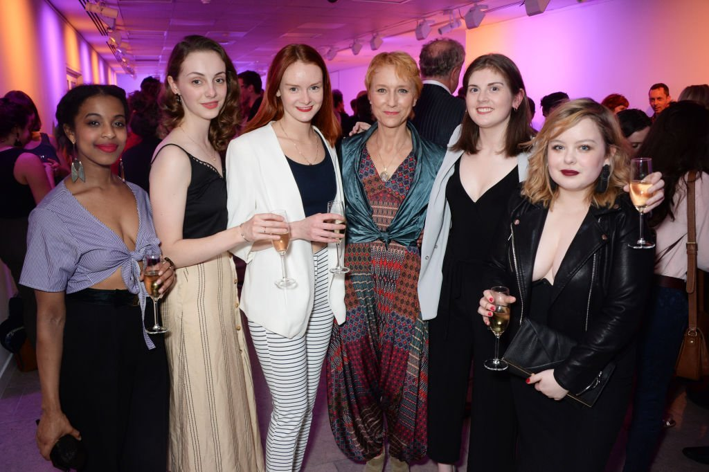 "Grace Saif, Helena Wilson, Rona Morison, Lia Williams, Emma Hindle and Nicola Coughlan attend the press night after party for the Donmar's ""The Prime of Miss Jean Brodie"" at The Hospital Club 