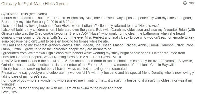 Sybil Marie Hicks' self-written obituary | Source: Reynold's Funeral Home