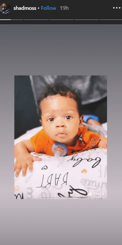 Bow Wow's baby boy lying down on a cushion with a pacifier   Photo: Instagram/shadmoss