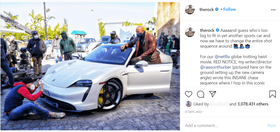 """Dwayne """"The Rock"""" Johnson's Instagram post about not fitting in a car 