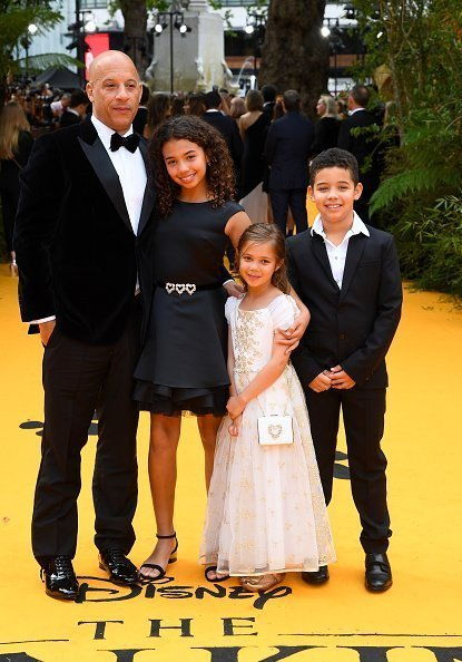 Vin Diesel and his children, Similce, Vincent, and Pauline at Leicester Square on July 14, 2019 in London, England. | Photo: Getty Images