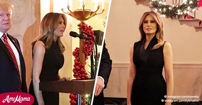 Melania Trump opted to wear a strict black dress for a raucous White House Christmas party