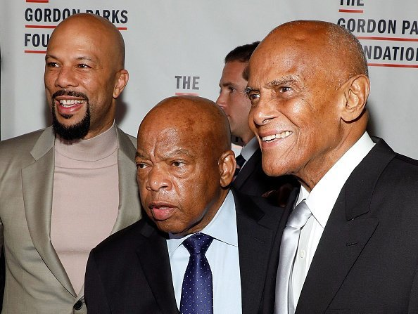 Common, John Lewis, and Harry Belafonte attend the 2017 Gordon Parks Foundation Annual Gala at Cipriani 42nd Street on June 6, 2017 | Photo: Getty Images