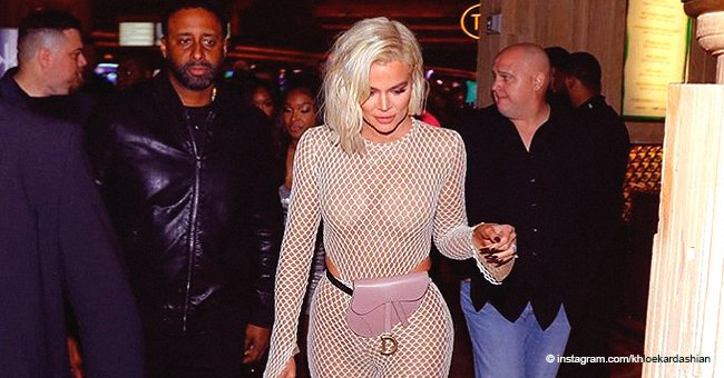 Khloé Kardashian Puts Her Plummy Curves on Full Display in a Fishnet Suit