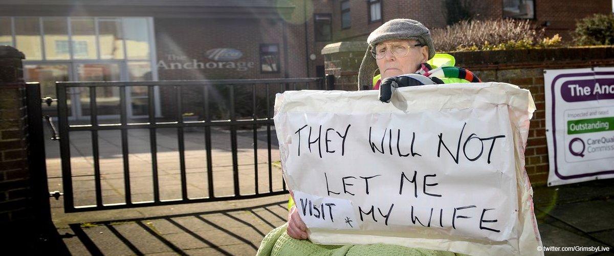89-jähriger Mann darf seine Frau nicht sehen und beginnt vor Pflegeheim Rollstuhlprotest
